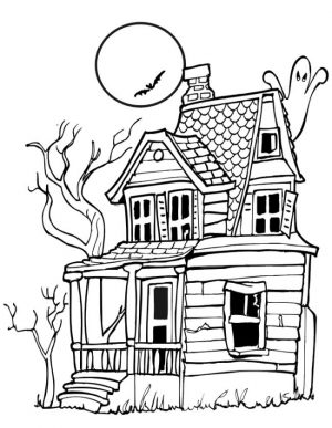 House Coloring Pages for Kids A Scary Haunted House