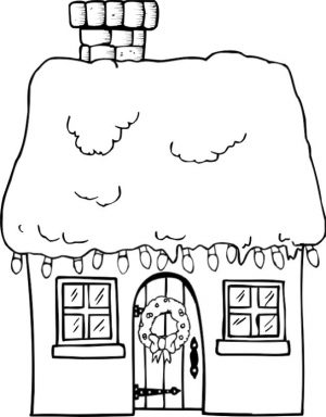 House Coloring Pages to Print Simple House Drawing for Young Kids