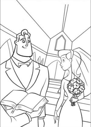Incredibles Coloring Pages for Kids The Young Superhero Couple Getting Married