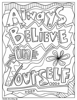 Inspirational Coloring Pages for Students Believe in Yourself