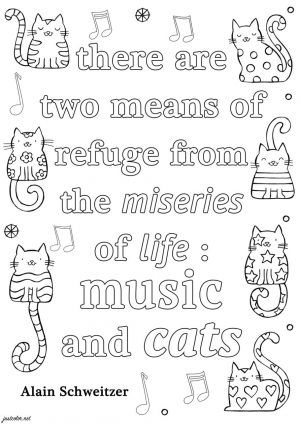 Inspirational Coloring Pages to Print Music and Cats
