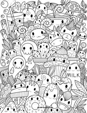 Kawaii Coloring Pages Food Doodle Printable