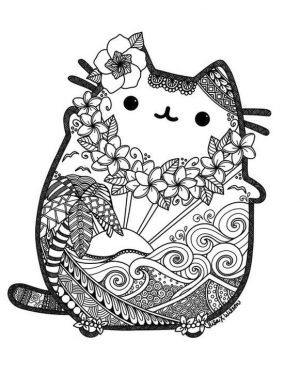 Kawaii Coloring Pages Pusheen Cat Zentangle