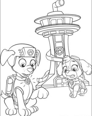 Kids Printable Paw Patrol Coloring Pages Zuma and Sky – 37194