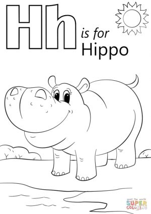 Letter H Coloring Pages Hippo – 9n42b