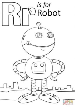 Letter R Coloring Pages Robot – r8591