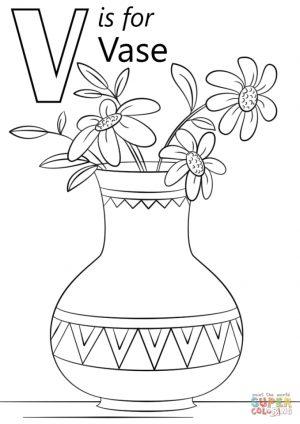Letter V Coloring Pages Vase – v3695