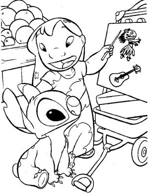 Lilo and Stitch Coloring Pages Lilo Teaching Stitch Stuff