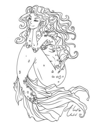 Mermaid Coloring Pages for Adult aln3