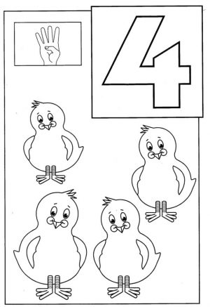 Number 4 Coloring Page – 4514a