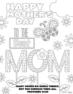 Online Printable Mother's Day Coloring Pages for Adults – 78201