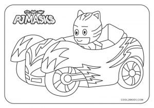 PJ Masks Coloring Pages Black and White The Cat Car