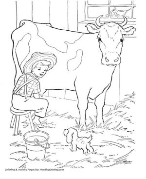 Realistic Cow Coloring Pages Printable A Boy Milking a Cow