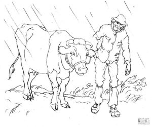 Realistic Cow Coloring Pages to Print Cow with the Farmer
