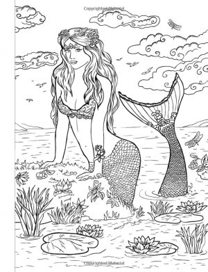 Realistic Mermaid Coloring Pages for Adult l4nd9