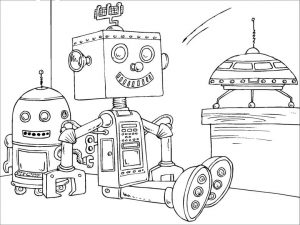 Robot Coloring Book Pages A Robot Being Repaired