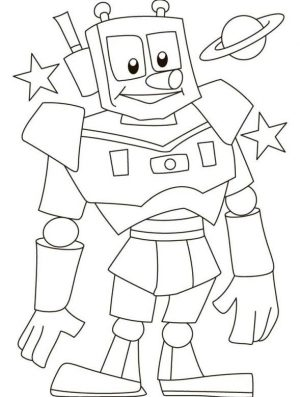 Robot Coloring Page Images Space Robot with Long Nose