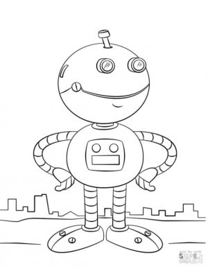 Robot Coloring Pages Friendly Robot
