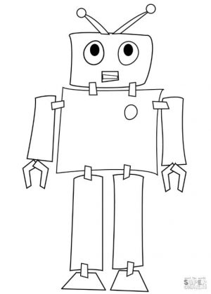 Robot Coloring Pages Paper and Tapes Robot