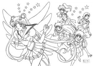 Sailor Moon Coloring Pages Usagi and Her Best Friends