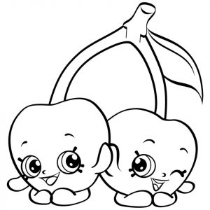 Shopkins Coloring Pages for Kids Cherry Twins
