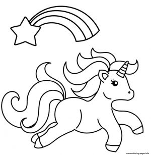 Star Coloring Pages Baby Unicorn with Shooting Star