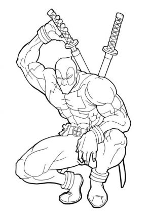 Superhero Coloring Pages For Adult Deadpool with His Twin Katana