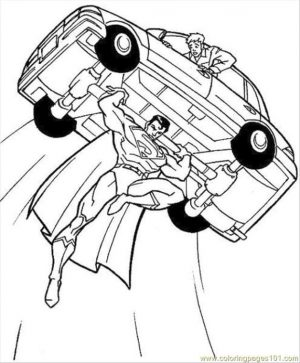 Superhero Coloring Pages Free Online Superman Lifting a Car