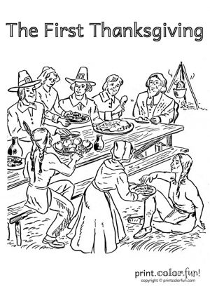 Thanksgiving Adult Coloring Pages The First Thanksgiving in North America