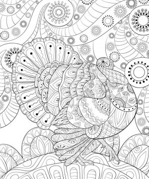 Thanksgiving Coloring Pages for Adult Complex Turkey Art Drawing