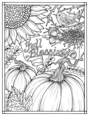 Thanksgiving Coloring Pages for Adult Free Printable Bountiful Fall Blessings