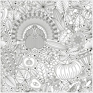 Thanksgiving Coloring Pages for Adult Free Printable Turkey Apples and Fall Leaves