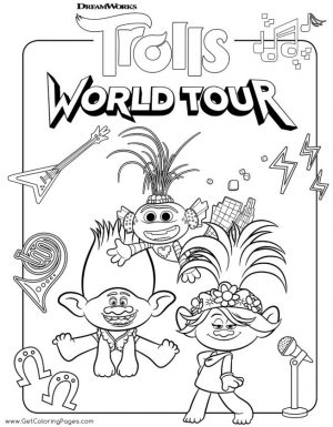 Trolls World Tour Movie Coloring Pages Queen Poppy Performing on Stage
