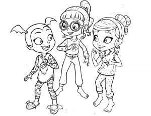 Vampirina Coloring Pages Vampirina with Poppy and Bridget