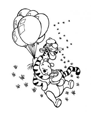 Winnie the Pooh Coloring Pages Easy Tiger and Pooh Flying with Balloons