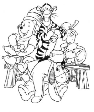 Winnie the Pooh and Friends Coloring Pages Pooh and Friends Pretending to Play Football