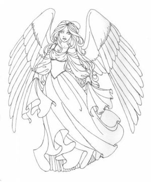 Angel Fantasy Coloring Pages for Adults   98SZ34