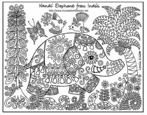 Challenging Coloring Pages of Elephant for Adults   9n9d9
