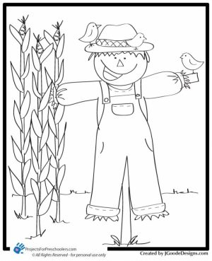Children's Printable Scarecrow Coloring Pages   v9hxD