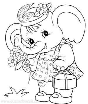 Cute Elephant Coloring Pages for Preschoolers   907431