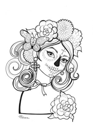 Day of the Dead Coloring Pages for Adults   yxc31