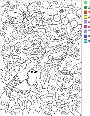 Difficult Color by Number Pages for Grown Ups   PZ789