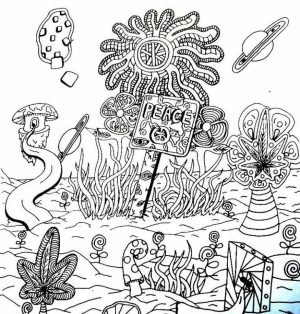 Difficult Trippy Coloring Pages for Grown Ups   A3X6V