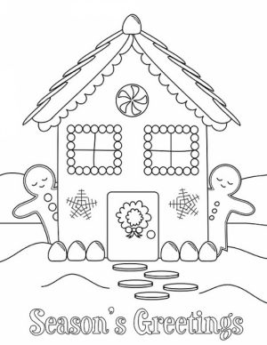Easy Preschool Printable of Gingerbread House Coloring Pages   A5BzR