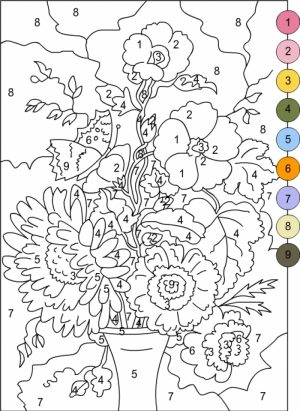 Flowers Coloring Pages for Adults Printable   Color by Number   5621f