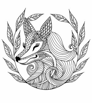Fox Coloring Pages for Adults Free Printable   7xnf5