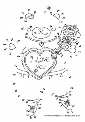 Valentine Dot to Dot Coloring Pages