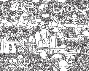 Fun Doodle Art Adult Coloring Pages Printable   52cf1