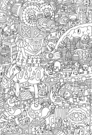 Fun Doodle Art Adult Coloring Pages Printable   93VH2