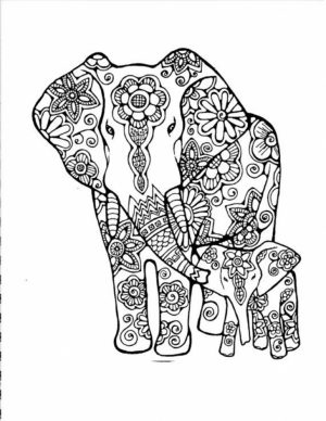 Hard Elephant Coloring Pages for Adults   89631